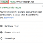 Screenshot showing Fat Cat Design's website is secure, SSL-compliant, and HTTPS-enabled