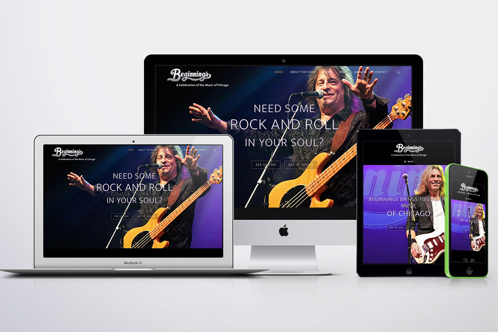 Website Redesign for Beginnings - The Ultimate Chicago Tribute Band