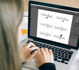 Fat Cat Design logo design process - creating digital versions of design sketches