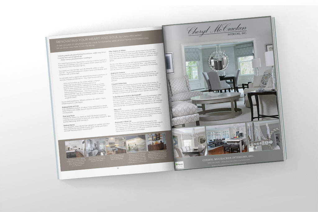 Editorial piece and full page ad for Cheryl McCracken Interiors