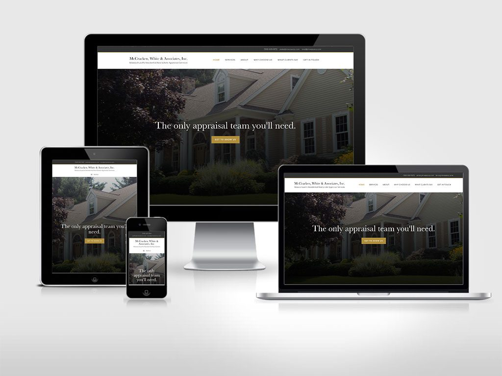 multiple screen displays for Massachusetts residential real estate appraisal firm website